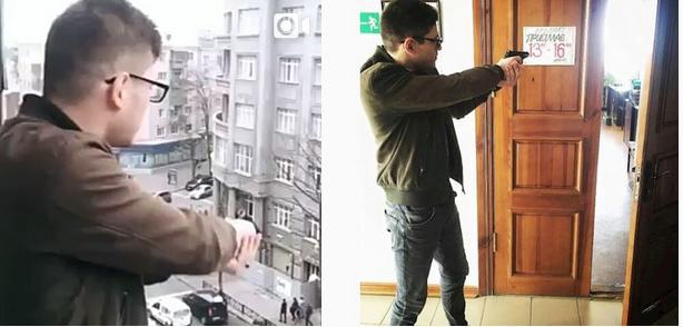 Ragazzo spara dal balcone