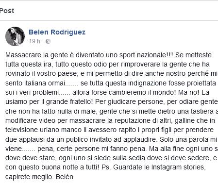 Belen Rodriguez giustifica Cecilia